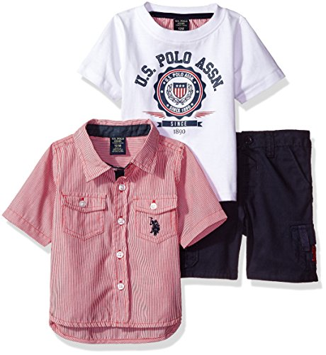 U.S. Polo Assn. Baby Boys' Sleeve Sport Shirt, T-Shirt and Twill Short Set, Multi Plaid, - Polo Tartan