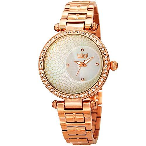 Burgi Women's BUR183 Quartz Crystal Accented Mother of Pearl Dial Bracelet Watch (Rose Gold)