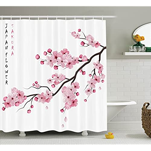 Asian Decor Shower Curtain Set By Ambesonne Illustration Of Japanese Cherry Branches With Blooming Flowers Spring Decorative Boho Art Bathroom Accessories ...