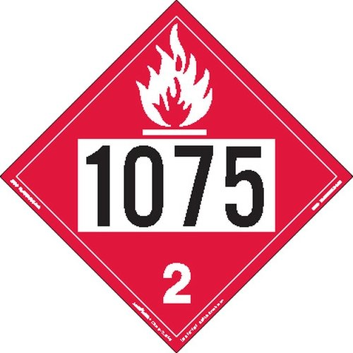 Labelmaster Z-IDP UN 1075 Flammable Gas Hazmat Placard, Permanent Vinyl (Pack of 25)