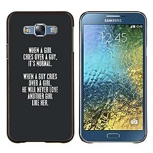 LECELL--Funda protectora / Cubierta / Piel For Samsung Galaxy E7 E700 -- chica gris chico amor de San Valentín lección cotización --