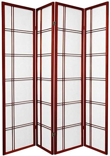 4 Panel Double Cross Room Divider – Cherry