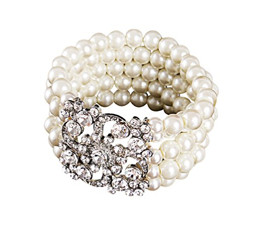 [Zking Art Deco The Great Gatsby 5 Rows Faux Pearl Elastic Bracelet Bangle] (Flappers 1920)