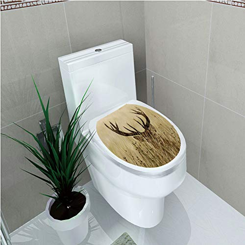 Toilet Applique,Antler Decor,Whitetail Deer Fawn in Wilderness Stag Countryside Rural Hunting Theme,Brown Sand Brown,Custom Sticker,W12.6