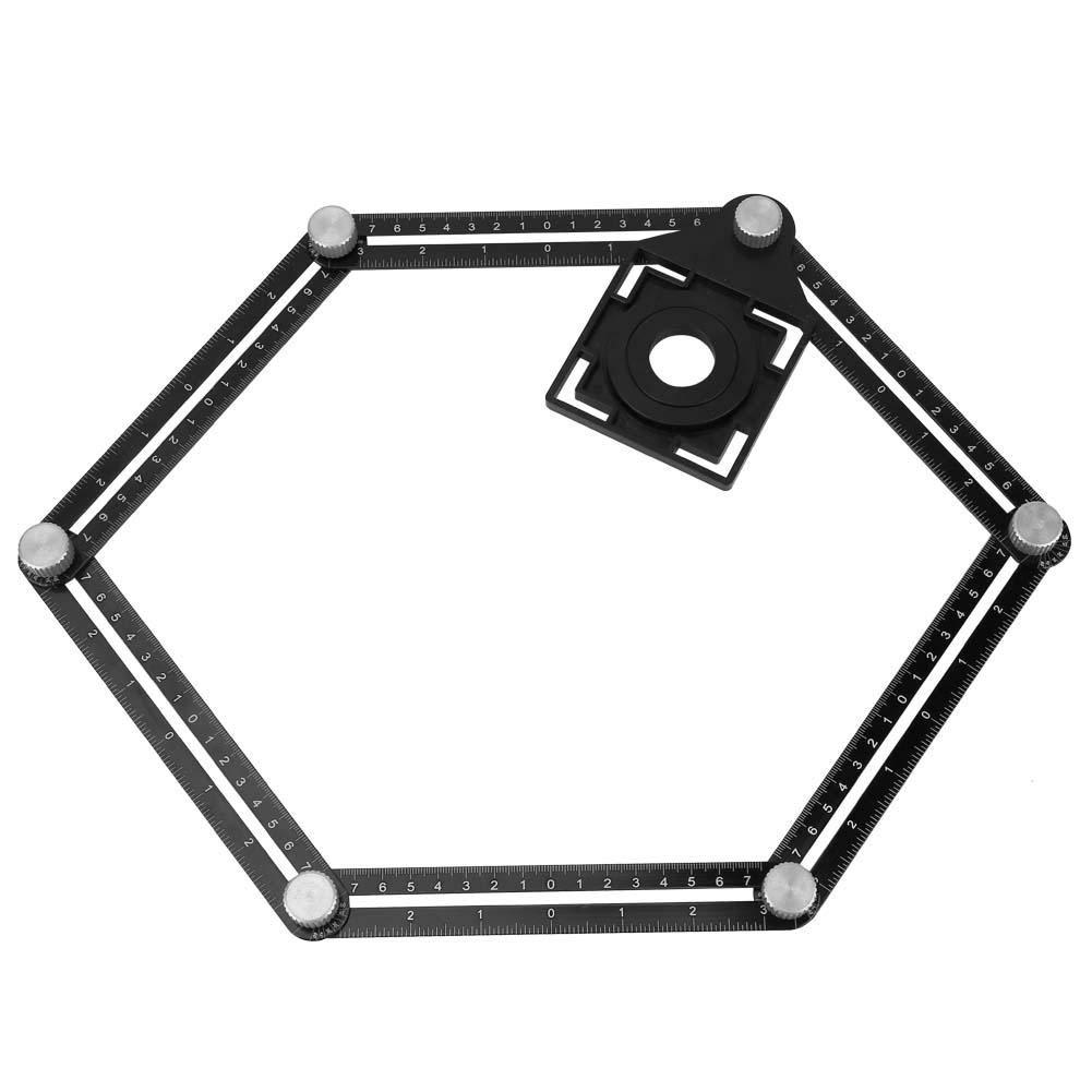 Aluminium-Legierung Zollstock 6 Fu/ß Multi Angle Sechs-Zollstock Keramikglas Fliesen Loch Locator Holzbearbeitungswerkzeug Sechs-Zollstock