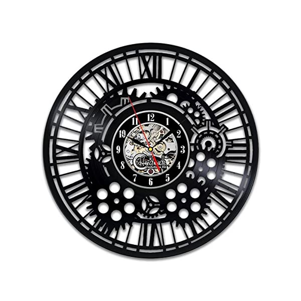 Handmade Solutions EU Steampunk Vinyl Wall Clock Heart Mechanical Art Modern Ornaments Mechanism Cogs and Wheels Gear Engineer Fathers Gift Kitchen Accessories Art Home Decor Design 3