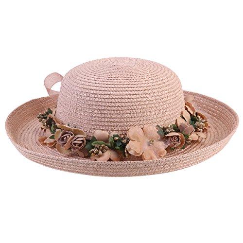Tinksky Femmes Lady large Brim Hat Summer Beach Cap Soleil disquette chapeaux de paille, cadeau de fête des mères ou cadeau pour femmes