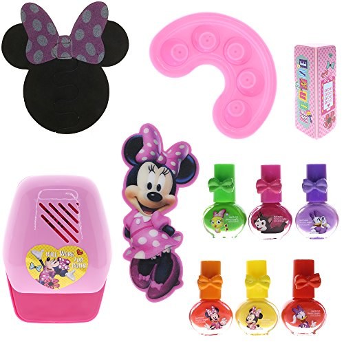 TownleyGirl Disney Minnie Mouse Super Fun Nail Set with 6 Nail Polishes, Dryer and Finger Soaker ()