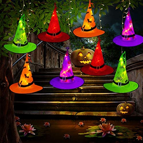 Tcamp Halloween Decorations Outdoor Witch Hats Lights, 8Pcs Hanging Lighted Glowing Witch Hats with 44ft 104LED Halloween Lights String for Indoor, Outdoor, Yard, Tree Decor 8 Lighting Modes