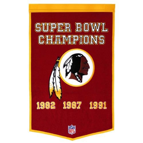 - Washington Redskins Super Bowl Championship Dynasty Banner - with hanging rod