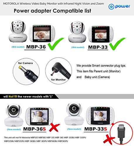 T POWER ( TM (6 6ft) AC Adapter for MOTOROLA MBP26 MBP33 MBP33P MBP35 MBP36  MBP36PU MBP41 MBP43 MBP43BU MBP18 MBP26 MBP34 Remote Wireless Digital