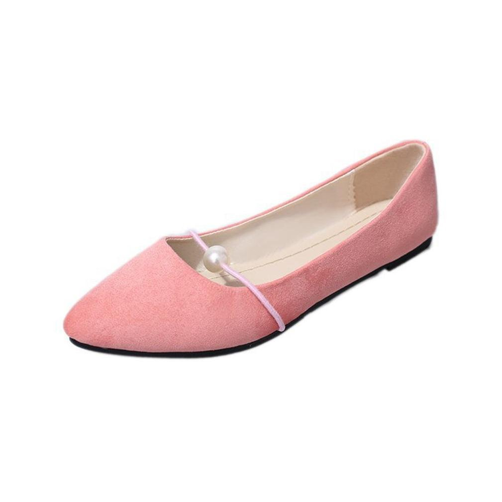 Victorcn Women's Solid Color Suede Flat Heel Pearl Flat Heel Pointed Casual Shoes Black (36, Pink)