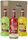 Master of Mixes Margarita/Daiquiri Lite Drink Mixes Variety, Ready to Use, 1.75 Liter Bottles (59.2 Fl Oz), Pack of 3 Flavors + Margarita Salt