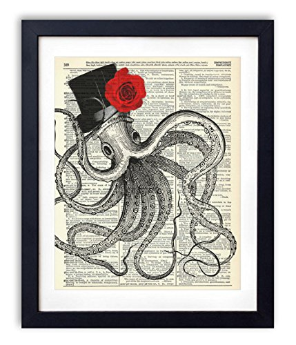 Gentleman Octopus With Red Rose Vintage Upcycled Dictionary Art Print - 8x10 inches