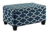 36 Inch Storage Ottoman Homelegance Tala Lift-Top Storage Cocktail Ottoman with Linen Geometric Cover, Blue