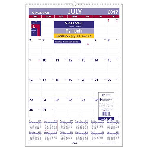 "AT-A-GLANCE Academic Wall Calendar, July 2017 - June 2018, 15-1/2"" x 22-3/4"", Wirebound (AY328)"