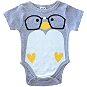 CHUBS Nerd Bird Unique Baby Onesies, Baby Product Made In The USA (3-6M, Heather Grey)