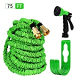 HBlife 75 ft Expandable Lawn Garden Water Hose with 8 Spray Pattern Nozzle - Triple Latex Core, Solid Metal Ends