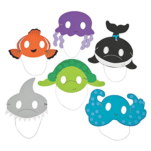 Fun Express Ocean Animal Mask Craft Kit | Makes 12 Pieces | Great for Birthday Parties, DIY Arts & Crafts, Photo Booth -
