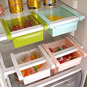 Caso Slide de almacenamiento frigorífico congelador cajas Pantry bandejas de almacenamiento organizador recipiente de almacenamiento de alimentos caja de ...