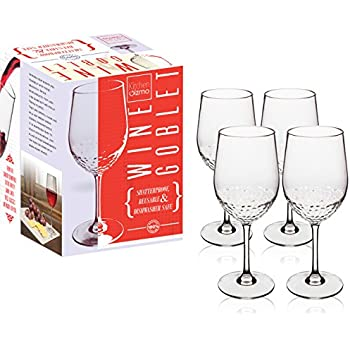 Kitchen Gizmo - Unbreakable Wine Glasses With Hammered Finish 100% Tritan - Set of 4, 10oz Goblets.