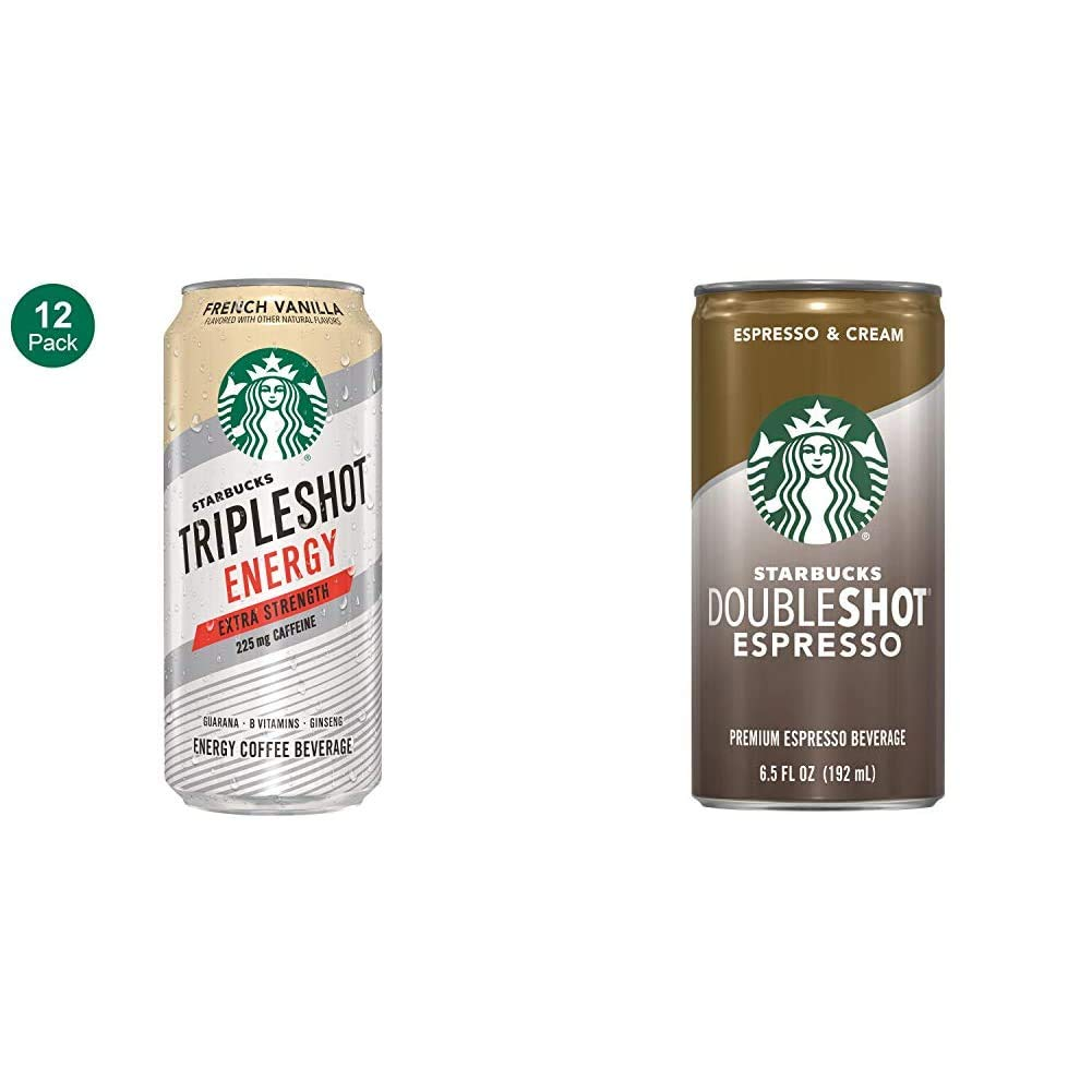Starbucks Tripleshot Energy Extra Strength, French Vanilla, 15oz Cans (12 Pack) & Doubleshot, Espresso + Cream, 6.5 Fluid Ounce, Pack of 12