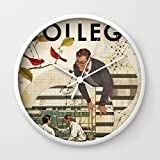 Society6 Welcome To... College Wall Clock White Frame, White Hands