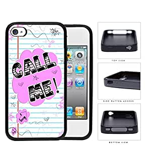 Call Me! Note With Stars And Hearts Rubber Silicone pc Cell Phone Case Apple iPhone 4 4s