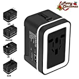 Xcords Travel Adapter, Premium Worldwide All in One Universal Travel Plug Charger Upgraded AC Power Plug Converter Wall Charger with 2 USB Ports Sync for USA EU UK AUS Cell Phone Laptop(BlackWhite)