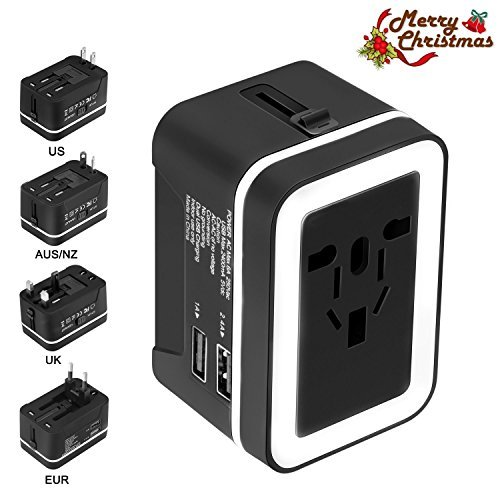 Travel Adapter, Xcords Premium Worldwide All in One Universal Travel Plug Adapter Upgraded AC Power Plug Converter Wall Charger with 2 USB Ports Sync for USA EU UK AUS Cell Phone Laptop(BlackWhite)