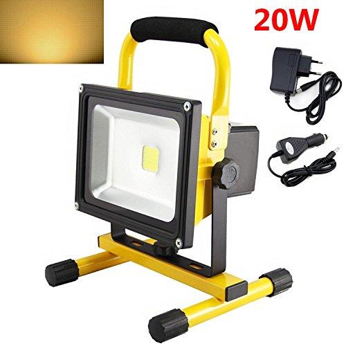 SAILUN 20W Gelb LED Mit Akku Warmweiß Baustrahler Fluter Handlampen Flutlicht Arbeitsleuchte Tragbar wiederaufladbare Fluter IP65 (20W Warmweiß )
