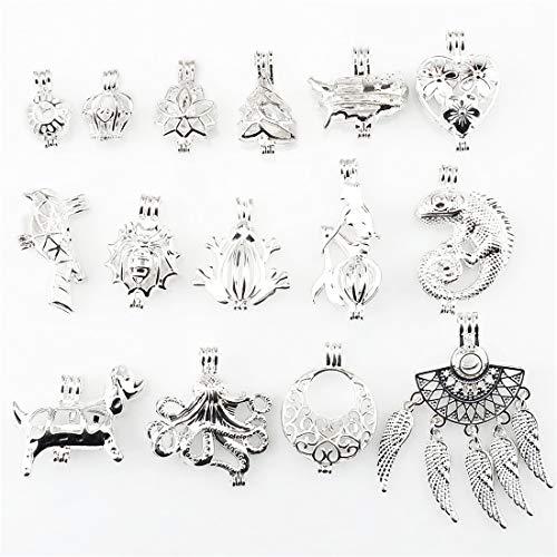 15X/lot Mix Flower Crown Tree Heart Bird Frog Lizard Mermaid Dog Octopus Dream Catcher Beads Pearl Cage Pendant ()
