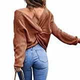 Sexyshine Women's Casual V Neck Criss Cross Backless Long Batwing Sleeve Loose Knitted Sweater Pullovers,Coffee