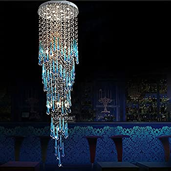 Haixiang large rain drop long blue crystal chandelier ceiling lighting stair lamp
