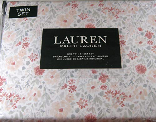 Lauren 3 Piece Twin Size Floral Print Sheet Set Pink and Gray 100% Cotton