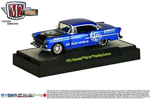 1955 CHEVROLET BEL AIR HARDTOP CUSTOM (Satin Blue w/Semi-Gloss Black Hood) Auto-Mods Hobby Exclusive Release S18 M2 Machines 2015 Castline 1:64 Scale Die-Cast Vehicle (32600-S18B) (Pickup Hardtops)