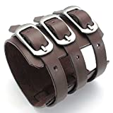 AnaZoz Brown Mens Leather Cuff Bangle Bracelet