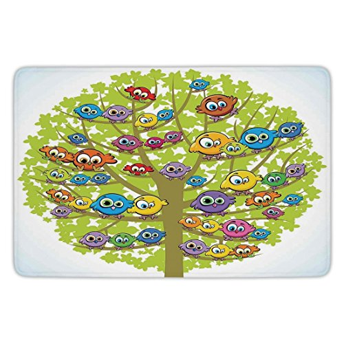 Bathroom Bath Rug Kitchen Floor Mat Carpet,Funny,Cartoon Group of Fun Colorful Canary Bird Family on Oak Branches Animal Illustration,Multicolor,Flannel Microfiber Non-slip Soft Absorbent - Canary Kitchen Towel