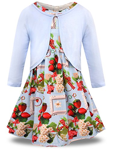 Bonny Billy Teen Girl Clothes Sets Flower Dress and Solid Cardigan 2 PCS Outfits 10-11 Years Strawberry Blue