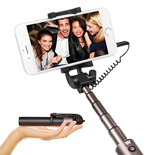 Selfie Stick Portable Extendable Monopod - Luxsure Universal Wired Handheld Compatible for iPhone X/8/7//6s/6 Plus, Samsung Galaxy S7/S6/Edge, No APP (Black)