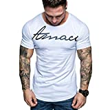 SIRIAY Men Shirts Summer Boy's Fashion Casual Letter Printed Short Sleeve Tee Shirt Tops Blouse White