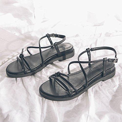GAOLIM La Chica De La Terraza De Verano Y Del Anillo Del Pie Femenino Correa Cruzada Baja Sandalias Zapatos Con Sandalias Planas Negro