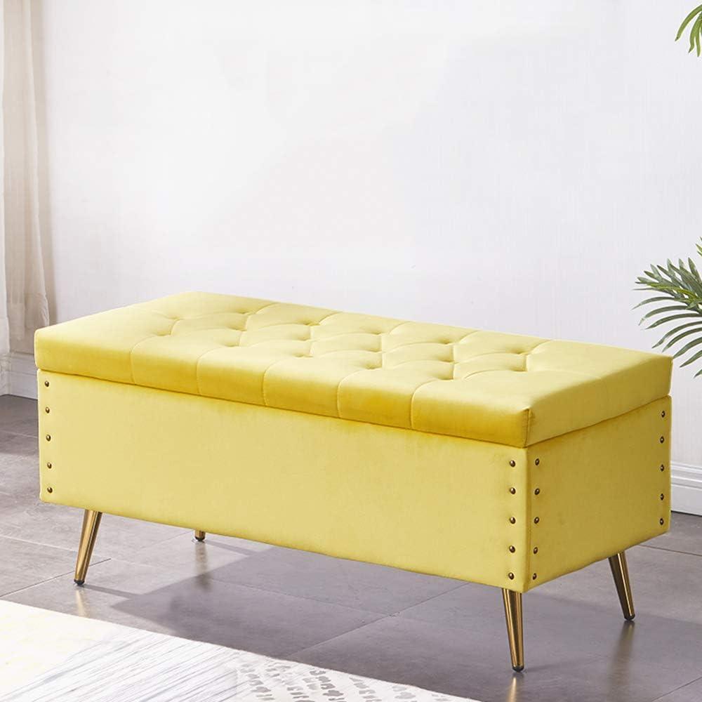 XMZDDZ Upholstered Large Rectangle Storage Bench Ottoman,Velvet