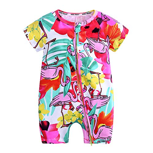Kids Tales Baby Girls Short Sleeve Cotton Pajamas Infant Graphic Zipper Romper ()