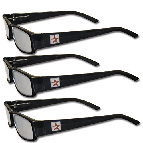 MLB Houston Astros Adult Reading Glasses (3-Pack), Black, Reading Power: +1.25