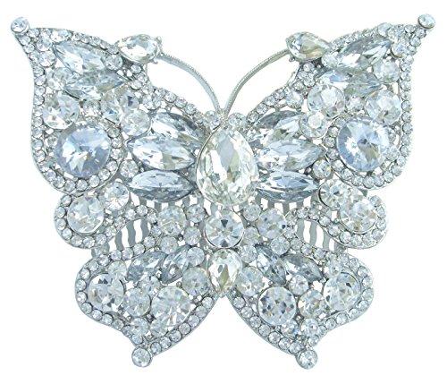 Sindary 3.94'' Silver Tone Butterfly Hair Comb Clear Rhinestone Crystal Wedding Headpiece HZ4919 by Wedding Hair Accessories-Sindary Jewelry