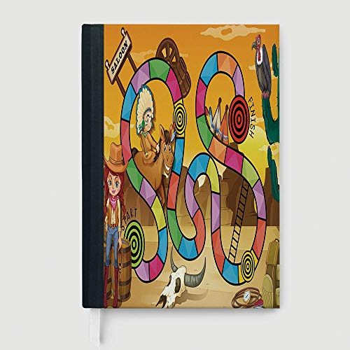 Hardcover,Board Game,College Ruled Notebook/Composition/Journals/Dairy/Office Note Books,Wild West Concept Country Landscape Cowgirl America Cactus Childrens Nursery Decorative,96 Ruled Sheets,B5/7.99