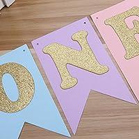 Colorati TOYMYTOY Striscione con bandiere con lettere ONE e cuori oro glitter per decorazioni della festa di compleanno 1 Anno per Neonati