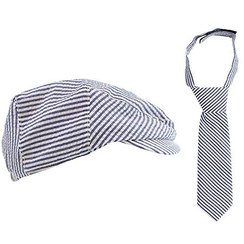 juDanzy 2 Piece Cabbie Driver hat & Necktie Set for Baby Toddler & Kids (4-8 Years, Navy & White Seersucker)