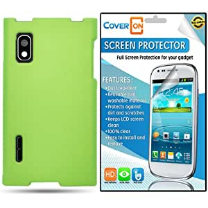 CoverON® LG Optimus Extreme Hard Rubberized Slim Case Cover Bundle with Clear Anti-Glare LCD Screen Protector - Neon Green